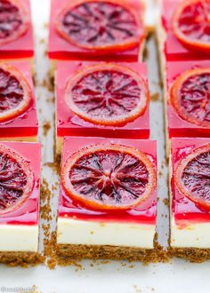These blood orange cheesecake squares are light and citrusy and one of my favorite Spring desserts. As promised last week, I have a recipe for cheesecake bars with blood orange gelee and topped with candied blood orange slices. If you don't know already, I love fruity desserts. And I'm the most happy, when I'm able...Read More »
