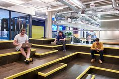 Architects Studio RHE have completed an interior fit out project for co-working group Huckletree at the Alphabeta building on Finsbury Square in. Tiered Seating, Interior Fit Out, London United Kingdom, New London, Workplace Design, Co Working, Coworking Space, Community, Studio