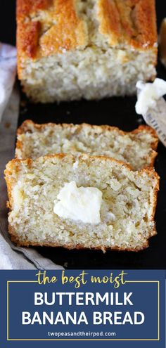 Looking for the best banana bread recipes? No need to look somewhere. Try this Buttermilk Banana Bread. This Easy Butter Buttermilk Banana Bread, Moist Banana Bread, Buttermilk Recipes, Banana Bread No Eggs, Buttermilk Uses, Apple Bread, Quick Bread Recipes, Banana Bread Recipes, Sweet Recipes