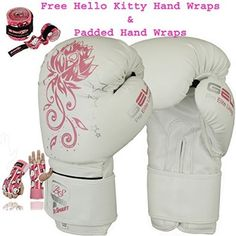 7a298c6b089 Ladies Pink Gel Boxing Gloves Bag Womens Gym Kick Pads MMA Mitts Muay Thai  G (White