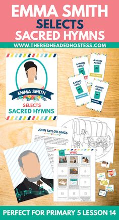 """""""Emma Smith Selects Sacred Hymns"""" printable lesson packet. These lesson helps are perfect for Primary 5 (Valiant) lesson 14, for other classroom use, or for family study! Help your children have a desire to sing the hymns and learn how the first LDS hymnal was arranged! This printable PDF will be available for download in your account on this store immediately after purchase.  This package is also in included in our Primary 5 Combo Package Lessons 13-16 at a discountHERE.  Includ..."""