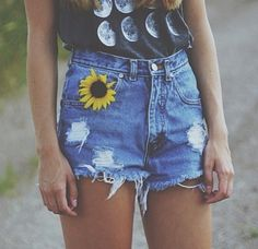 High waisted shorts with a graphic t-shirt makes a super cute outfit!!