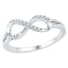 1/10 CT. T.W. Round Diamond Prong Set Infinity Fashion Ring in Sterling Silver (4.5), Women's, White