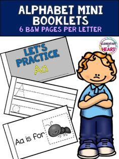 #tpt #tptpins #teachers #elementary #alphabet #printable #booklets #kindergarten #blackandwhite #easy #phonics #letters #rti #ell #esl #prek