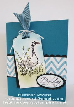Wetland Goose using wetlands, scallop tag topper punch from Stampin' Up! : Heather's Blog