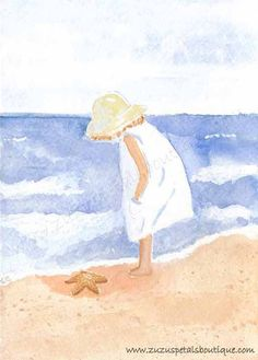 Beach Art Print from an Original Watercolor Painting - 8X10 Discovery by the Sea by Brooke Finley via Etsy