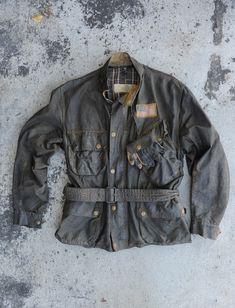 Barbour vintage waxed motorcycle jacket