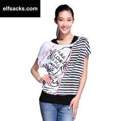 Womens Striped Two-Piece Round Collar Short Sleeve Tshirt
