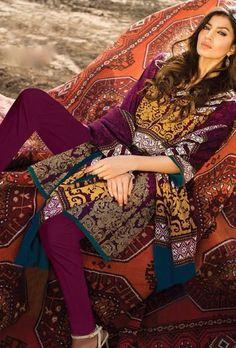 Purple printed designer suit - Desi Royale