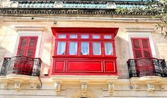 beautiful building facade and bright red shutters in malta Red Shutters, Building Facade, Travel Memories, Best Budget, Culture Travel, Beautiful Buildings, Malta, Travel Inspiration, Budgeting