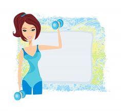 Girl Lifting Weights Cartoon