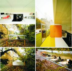 Jose Selgas and Lucia Cano have designed an office for their architectural practice in the woods near Madrid, Spain. The semi-transparent office is sited underneath the tree canopy, a transparent curved plate ceiling faces north and is made of 20mm thick colourless plexiglass. Everywhere you can see plants and trees. The idea is to have employees feel like working in a jungle. Image credit: creativeboysclub.com