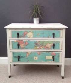 Upcycled Map Of The World Chest Of Drawers Dressing Table | eBay