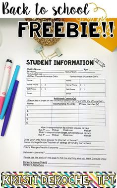 FREEBIE! Student Information Sheet for back to school!!