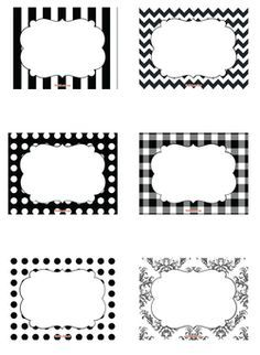 black and white printable name tags - Google Search