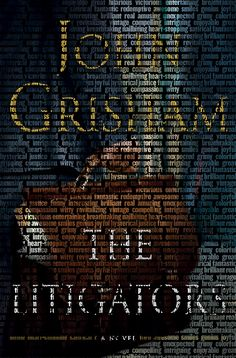 The cover of The Litigators, created from fans' one-word reviews of the book posted on Facebook.