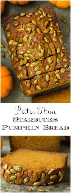 Love Starbucks Pumpkin Bread? Betcha you'll love this moist, tender, incredibly delicious Better Than Starbucks Pumpkin Bread even more! #pumpkinbread #copycatstarbucks #betterthanstarbucks #pumpkin