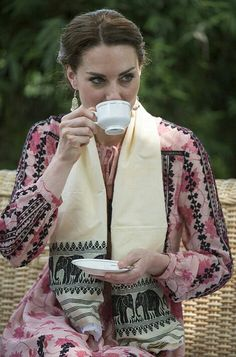 William and Kate on tour day four. 2016. Kate taking tea in the afternoon after the safari at Kaziranga National Park in Assam India.