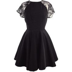 The Kelly King Collective Kate Black Fit & Flare Dress ❤ liked on Polyvore (see more lace cocktail dresses)