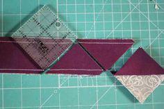 Tube quilting. Half square triangles