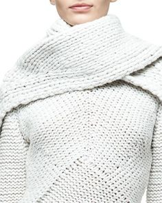 Narciso+Rodriguez+Cashmere+Braided+Scarf+White+|+Neckwear+and+Accessory