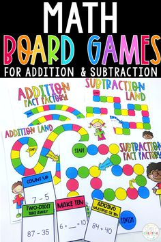 These addition and subtraction math board games are perfect to add to your math centers in first grade or second grade. Students can practice two digit and three digit addition and subtraction, as well as basic addition and subtraction math facts within 20. These are great for #guidedmath in 1st grade and 2nd grade!