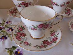 VINTAGE ROYAL SUTHERLAND CHINA PART TEA SET PINK ROSES 5 X TEA CUPS & SAUCERS | eBay