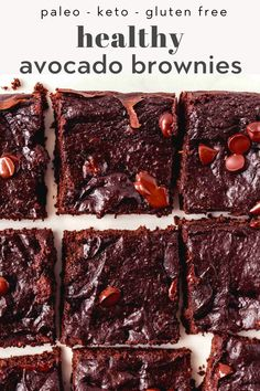 Paleo Avocado Brownie Recipe -- Flourless, fudgy, and made in one bowl, these avocado brownies take less than 20 minutes to make, and are so easy! Made with healthy ingredients, you won't believe how rich and decadent they are. Keto, Gluten Free, and Dairy Free too! Healthy Dessert Recipes, Healthy Baking, Healthy Desserts, Baking Recipes, Whole Food Recipes, Paleo Recipes, Sweets Recipe, Healthy Breakfasts, Recipes Dinner