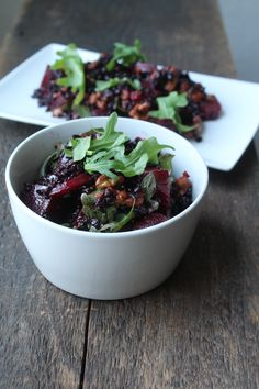 roasted beet and black rice salad