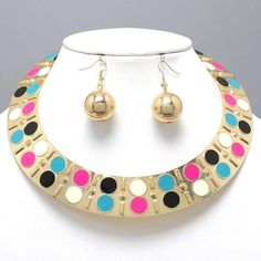 """CHUNKY MULTI COLOR GOLD TONE NECKLACE SET     * If you need a necklace extender I have them for sale in my store.*        NECKLACE: 16"""" + 5"""" EXT    CHARM: 1"""" LONG    LOBSTER CLAW CLOSURE       HOOK EARRINGS: 1 3/4"""" LONG           COLOR: GOLD TONE $21.99"""