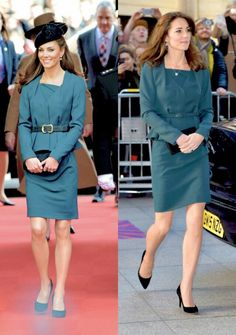 The Duchess of Cambridge recycled her suit by L.K. Bennett. She first wore during the Queen's Diamond Jubilee tour with a royal visit to Leicester Cathedral on March 8,2012,