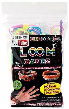 nice Colorful Loom Bandz 600 RAINBOW GLOW-in-the-DARK Rubber Bands with 'S' Clips