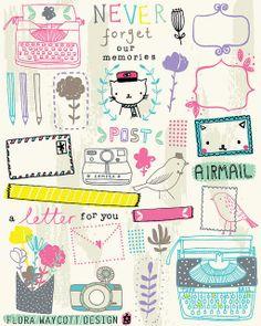 Flora Waycott new letter illustrations Doodle Drawings, Doodle Art, Flora, Doodle Inspiration, Cute Doodles, Line Sticker, Art Plastique, Cute Illustration, Project Life