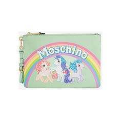 Moschino My Little Pony Clutch (£255) ❤ liked on Polyvore featuring bags, handbags, clutches, green, multi color purse, leather handbags, multi colored clutches, genuine leather handbags and real leather purses