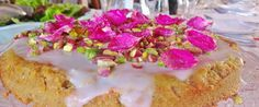Podere Patrignone, Tuscany. One of our favourite deserts - lemon, pistachio and candied rose petal cake http://www.organicholidays.com/at/3353.htm