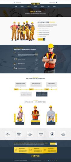 Mistiri – Construction PSD Template is a uniquely designed Template with a flat & modern look specially for the construction business. #aboutus #website