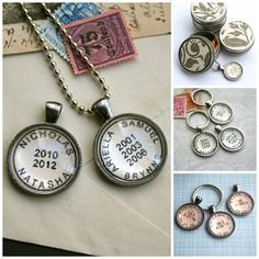 Custom Personalized Necklace Postmark Style Custom by CrowBiz what a great gift!