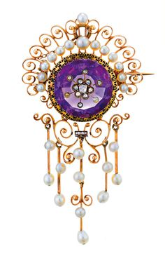 AMETHYST, PEARL AND DIAMOND BROOCH, LATE 19TH CENTURY  Centring a circular cut amethyst with applied rose cut diamond set flowerhead, partially bordered by an openwork scroll and seed pearl surround supporting a similarly set detachable fringe pendant, mounted in 15ct gold