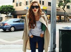 classic trench, jeans, a striped tee, and red lips!
