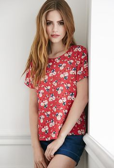 Mixed Floral Crepe Top, red $19.90 | Forever 21 - 2002247054
