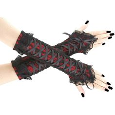 Gothic Fingerless gloves black red long lace, black arm warmers... ($33) ❤ liked on Polyvore featuring intimates, vintage corset, gothic corset, bridal corset, vintage goth corsets and lace up corset