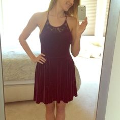 NWOT Free People Red Velvet Dress - S Super slingy, I was doing twirls the whole time I had it on. Beautiful deep red color, sexy lace accents. Some stitching is loose on straps but not impacting wearability. (I only noticed on close-up). Runs big - would say better suited for a M. No trades please, thx! ❤️ Free People Dresses
