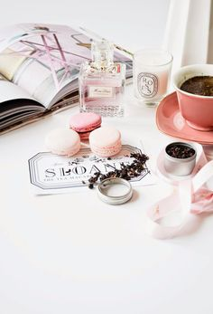 Miss dior perfume, roses candle by diptyque, Sloane tea in heart shaped cup, pink macarons from laduree