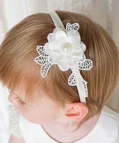 Look what I found on #zulily! Off-White Satin & Lace Appliqué Headband #zulilyfinds