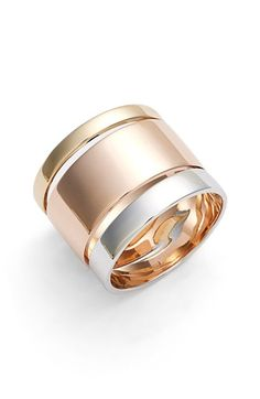 Lana Jewelry Lana Jewelry 'Nude' Tricolor Band Ring available at White Gold Jewelry, Rose Jewelry, White Gold Rings, Gemstone Jewelry, Gold Jewellery, Jewelry Rings, Cigar Band, Color Ring, Fashion Rings