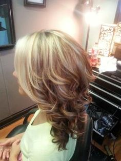 Blonde highlights with red lowlights medium layered haircut hair color for blondes and reds by suzette