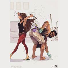 La vie de couple en dessin c'est beaucoup plus rigolo !