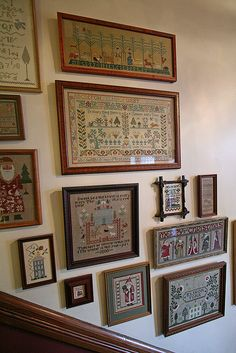 Cross stitch | Flickr - Photo Sharing! What an amazing wall. The person who took this photo and shared it said that these were on the wall of a BB she stayed at, and they were done by the innkeeper's wife. Gorgeous!