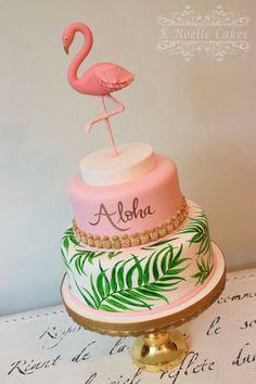 Bolo flamingo por K Noelle Cakes - Themed Cakes - Festa Flamingo Party, Flamingo Baby Shower, Flamingo Cake, Flamingo Birthday, Luau Birthday, Cool Birthday Cakes, Hawaii Birthday Cake, Birthday Ideas, Bolo Aloha