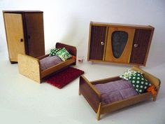 Vintage Miniature Bedroom for a Doll House. €40.00, via Etsy.